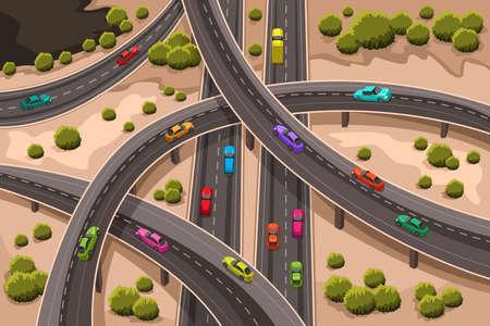 Ein Vektor-Illustration der Autobahn von oben gesehen Standard-Bild - 18428161