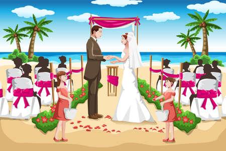 Una ilustración vectorial de una boda pareja en la playa Foto de archivo - 18428158