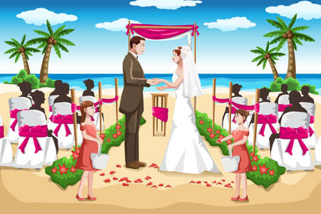 A vector illustration of a couple wedding on the beach