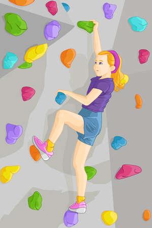 bouldering: Una illustrazione vettoriale di giovane ragazza parete di arrampicata al coperto