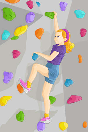 niño trepando: Una ilustración vectorial de una niña pequeña pared de escalada interior