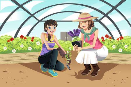 Een vector illustratie van gelukkige tieners planten in een kas