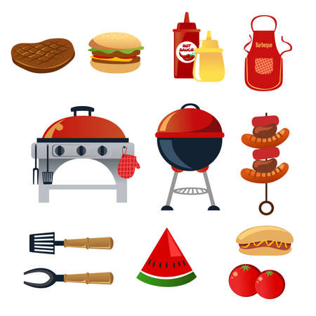 A vector illustration of barbeque icon sets Stock Illustratie