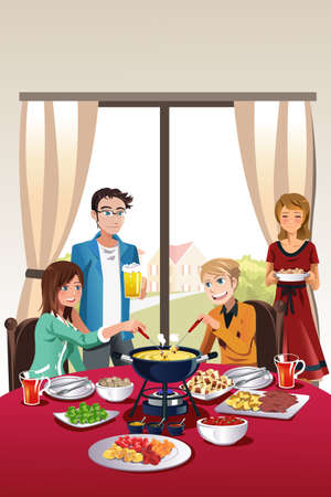 A vector illustration of group of teenager having fondue party
