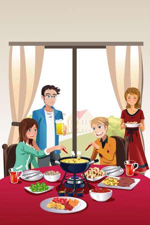 woman eat: Una ilustraci�n vectorial de un grupo de adolescente con fondue partido Vectores