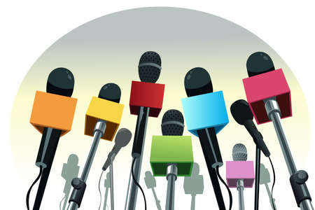 A vector illustration of colorful microphones on the podium with copy space Vectores