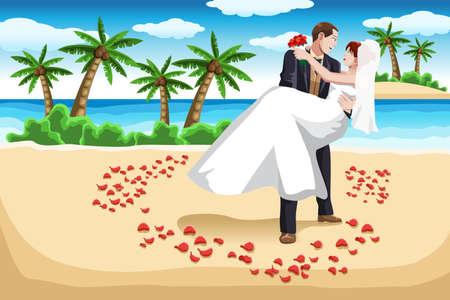 Una ilustración de una pareja feliz en la playa en traje de novia Ilustración de vector