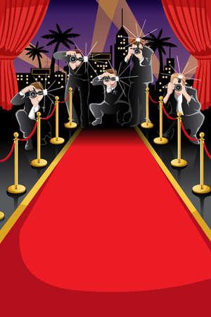 Een illustratie van de rode loper en paparazzi achtergrond met copyspace
