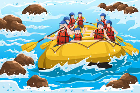 A vector illustration of a group of happy people rafting on river