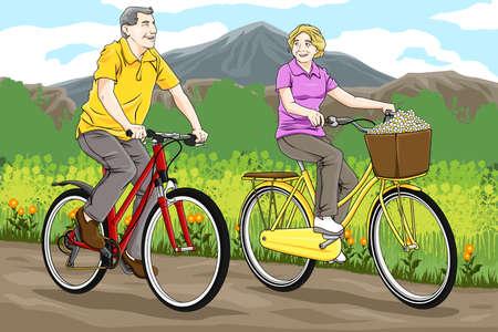 Una ilustración de ciclismo feliz pareja de ancianos juntos en el parque