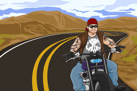 A vector illustration of biker with tattoo riding on his motorbike