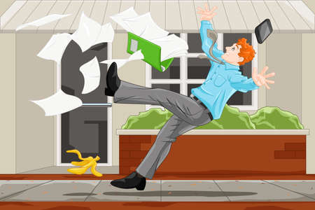 A vector illustration of the concept of a businessman slipped on a banana skin Illustration