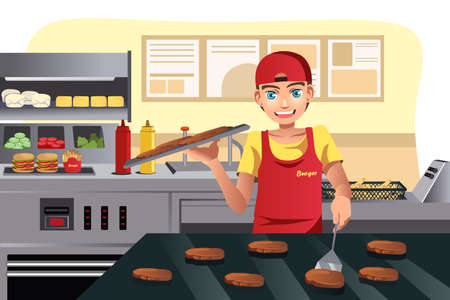 food: A  illustration of a cook flipping burgers at a fast food restaurant kitchen Illustration