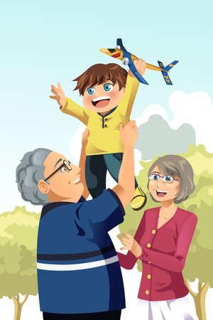Una ilustración de los abuelos felices jugando con su nieto