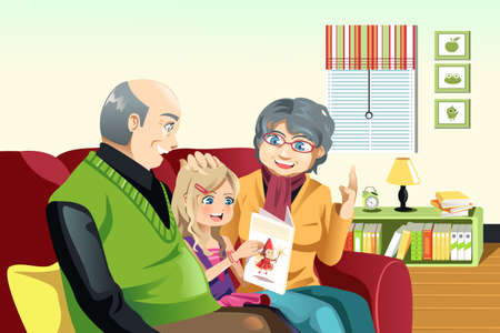 A illustration of happy grandparents and their little granddaughter reading a book  together