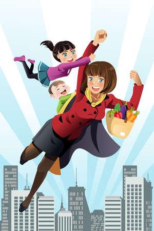 busy person: Una ilustraci�n del concepto madre superh�roe