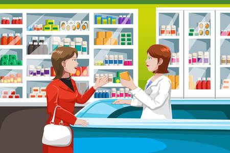 farmacia: Una ilustraci�n vectorial de la medicina compra de la mujer en una farmacia