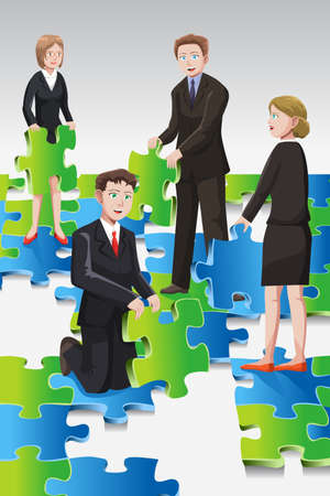 A vector illustration of the concept of a team of business people solving puzzle Ilustração