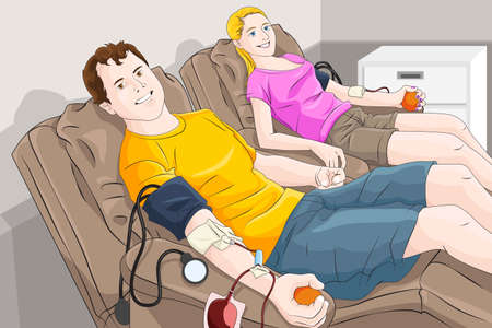 donation: A vector illustration of  young  man and woman donating blood in a blood bank