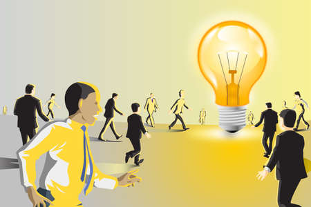 A vector illustration of business people walking toward a light bulb