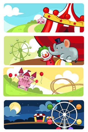 A vector illustration of amusement park banner sets Vector