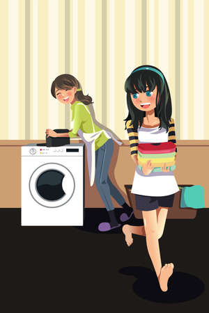 people helping people: A vector illustration of mother doing laundry with her daughter