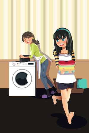 chores: Een vector illustratie van moeder de was doen met haar dochter