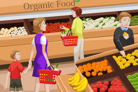 mujer en el supermercado: Ilustración de la gente de compras en un pasillo de comida orgánica en una tienda de comestibles Vectores