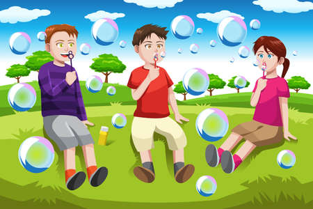 child sitting: Illustration of happy kids blowing bubbles in the park