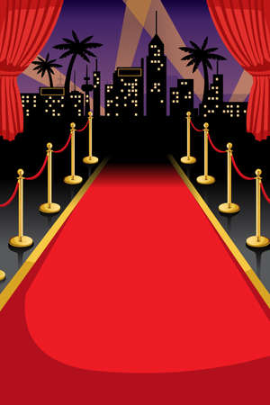 red carpet event: A vector illustration of red carpet with copyspace