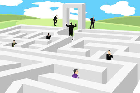 A illustration of a group of business people looking for a way out from labyrinth Stock Illustratie