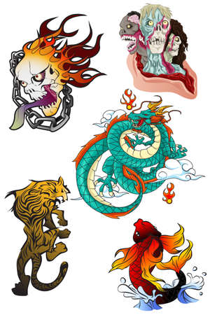 Illustration of tattoo design elements