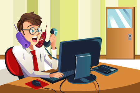 A illustration of a busy businessman talking on many phones at the same time