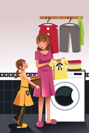 chore: A illustration of daughter helping her mother doing laundry