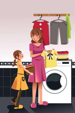 chores: Een illustratie van de dochter helpt haar moeder de was doen