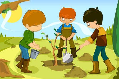 Ilustración de los niños de voluntariado mediante la plantación de árboles en conjunto