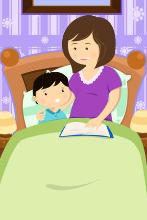 bedtime: Illustration of mother reading a bedtime story to her son