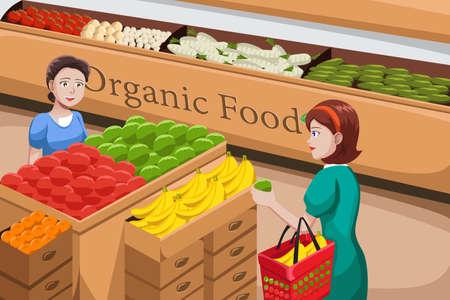 mujer en el supermercado: Una ilustración del vector de la gente de compras en un pasillo de comida orgánica en una tienda de comestibles