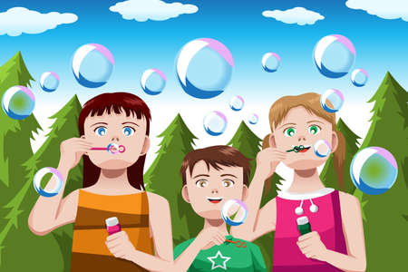 A vector illustration of happy kids blowing bubbles in the park with copyspace