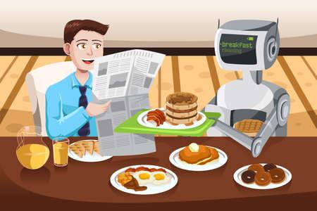 A vector illustration of a robot serving breakfast