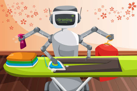 machines: A vector illustration of a robot ironing clothes