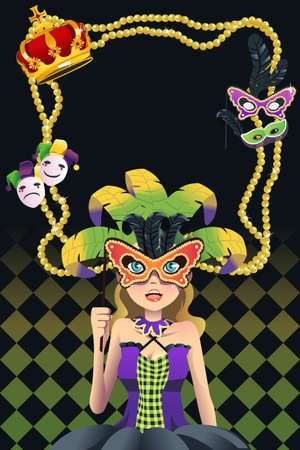 colorful beads: A vector illustration of a mardi gras background with copy space