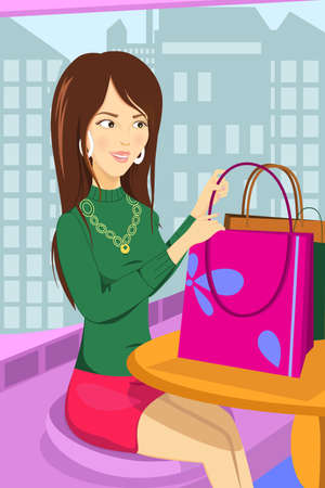 consumerism: illustration of a shopping woman sitting at a cafe Illustration