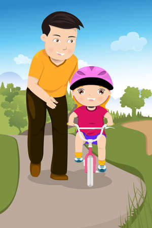 dad daughter: A vector illustration of father teaching his daughter riding a bike in the park Illustration
