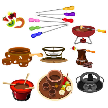 A vector illustrator of fondue icon sets Stock Vector - 19363418