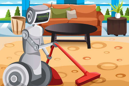 A vector illustration of a robot vacuuming carpet Vector