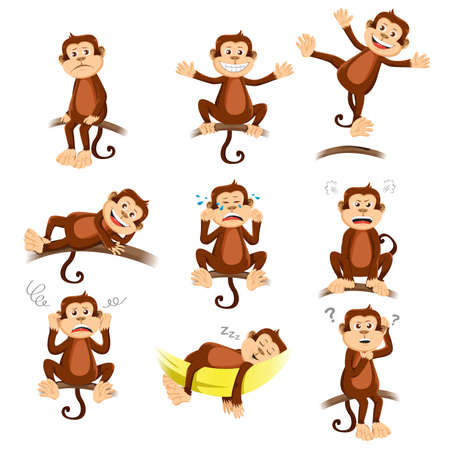 monos: Una ilustraci�n vectorial de mono con diferente expresi�n