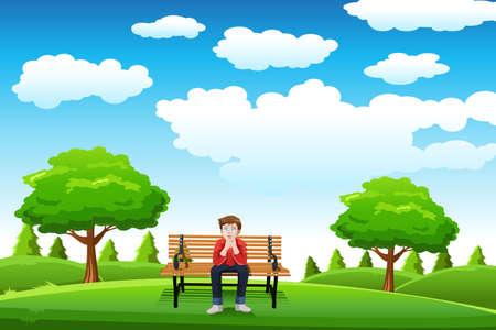 Een vector illustratie van een man zittend op de bank in een park alleen