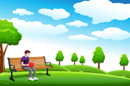 sitting in the bench: A vector illustration of a man reading a book in a park alone