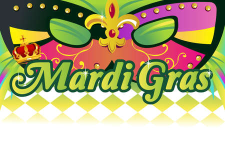 A vector illustration of mardi gras background with copy space Çizim